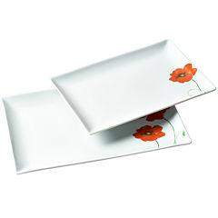Tabletops Gallery® 2-pc. Rectangular Platter Set - Poppy
