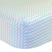 Trend Lab® Mint & White Chevron Fitted Crib Sheet