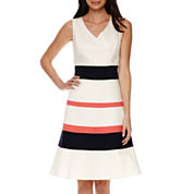 Black Label by Evan-Picone Sleeveless Stripe Fit-and-Flare Dress