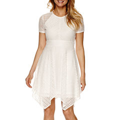 Danny & Nicole® Short Sleeve Seamed Lace Fit-and-Flare Dress - Petite