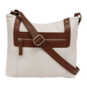 St. John's Bay® Two-Tone Leather Crossbody Bag