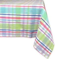 Spring Plaid Round Cotton Tablecloth