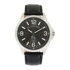 U.S. Polo Assn.® Mens Black Leather Strap Watch
