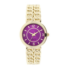 Womens Chain-Link-Look Bangle Watch