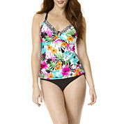 St. John's Bay® Floral Ring-Front Tankini Swim Top or Swim Bottoms