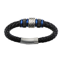 Mens Black Leather and Blue-Accented Stainless Steel Tube Bracelet