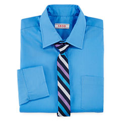 IZOD® Shirt and Clip-On Tie Set − Preschool Boys 4-7