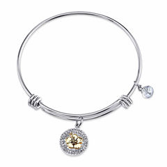Disney Womens Clear Silver Over Brass Bangle Bracelet