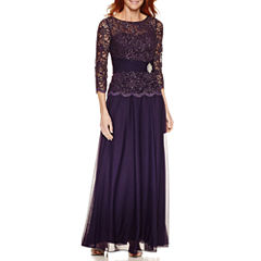 Jackie Jon 3/4 Sleeve Evening Gown