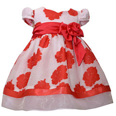 Bonnie Jean short sleeve floral burnout with satin bow Dress - Baby Girls