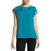 Worthington Sleeveless Round Neck Georgette Blouse