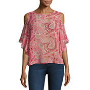 Buffalo Jeans Cold Shoulder Flutter Top