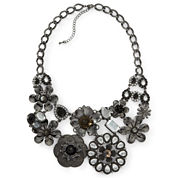 Mixit™ Black Crystal Flower Bib Necklace