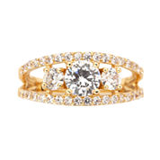 Sparkle Allure Womens Clear Cubic Zirconia Silver Over Brass 3-Stone Ring