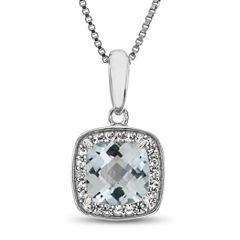 Womens Blue Aquamarine Pendant Necklace