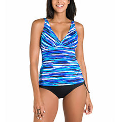 Jamaica Bay® Striped Surplice V-Neck Tankini Swim Top