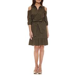 Worthington 3/4 Sleeve Cold Shoulder Belted Shirt Dress