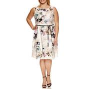Danny & Nicole Sleeveless Floral Tie Waist Fit & Flare Dress-Plus