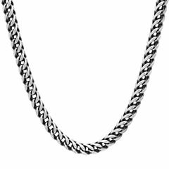 Mens Stainless Steel 24 Inch Black IP Finish Chain Necklace