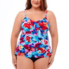 Jamaica Bay® Pretty Pleats Diagonal Ruffle Tankini Swim Top or Ruffle Hem Skirt Swim Bottoms