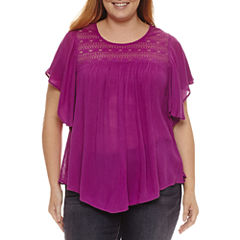 St. John's Bay® Flutter Sleeve Lace Yoke Blouse - Plus