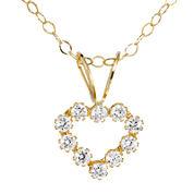 Infinite Gold™ Kids Cubic Zirconia 14K Yellow Gold Heart Pendant Necklace