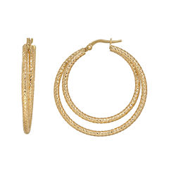 Made in Italy 14K Yellow Gold Diamond-Cut Double Hoop Earrings