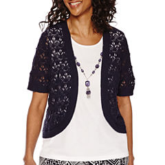 Alfred Dunner® Short-Sleeve Layered Top With Necklace