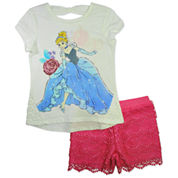 Disney By Okie Dokie Girls 2-pc. Short Sleeve Short Set