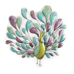 Peacock with Tail Wall Decor