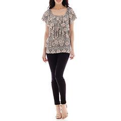 Alyx® Ruffle Print Blouse or Slim-Leg Pull-On Pants