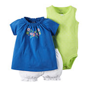 Carter's® 3-pc. Bodysuit and Shorts Set - Baby Girls newborn-24m
