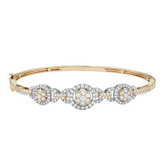 Diamond Blossom Womens 2 CT. T.W. White Diamond 14K Gold Bangle Bracelet