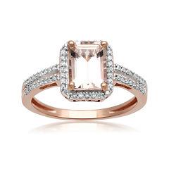 Genuine Morganite and 1/5 CT. T.W. Diamond 10K Rose Gold Ring