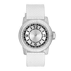 Womens White Silver-Tone Strap Watch