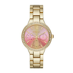 Geneva Womens Pink Gold-Tone Bracelet Watch