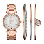 Liz Claiborne® Womens Crystal Accent Mother-of-Pearl Rose-Tone Bracelet Watch & 3-pc. Bangle Bracelet Set
