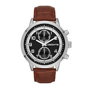 Claiborne® Mens Black Dial Brown Leather Strap Watch