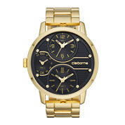 Claiborne® Mens Gold-Tone Black Dial Watch