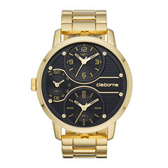Claiborne® Mens Gold-Tone Black Dial Watch