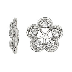 Diamond Accents & Simulated White Topaz Sterling Silver Earring Jackets