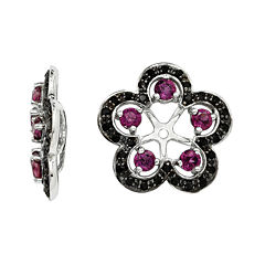 Genuine Purple Rhodolite Garnet and Black Sapphire Earring Jackets
