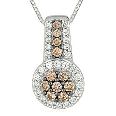 1/2 CT. T.W. Champagne & White Diamond 10K White Gold Pendant Necklace