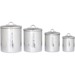Old Dutch International® 4-pc. Hammered Stainless Steel Canister Set