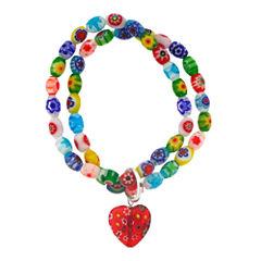 Dazzling Designs™ Multicolor Glass Stone Double Row Stretch Bracelet