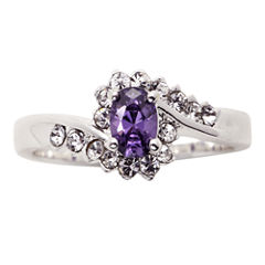 city x city® Pure Silver-Plated Purple & Clear Crystal Ring