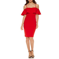 Bisou Bisou Short Sleeve Partially Lined Sheath Dress