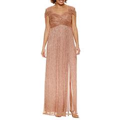 Melrose Short Sleeve Evening Gown-Petites