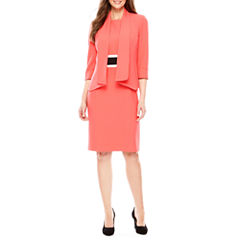 Black Label by Evan-Picone 3/4 Sleeve Open-Front Jacket with Sleeveless Colorblock Sheath
