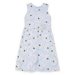 Marmellata Blue Floral Lace Dress w/Floral Applique - Girls' 7-16
